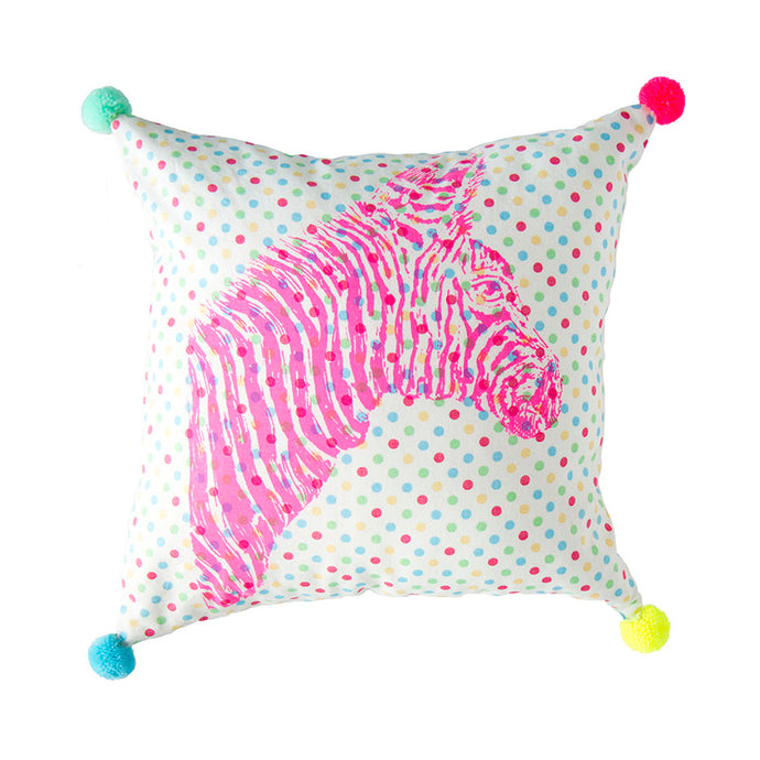 Zebra Pompom Pillow