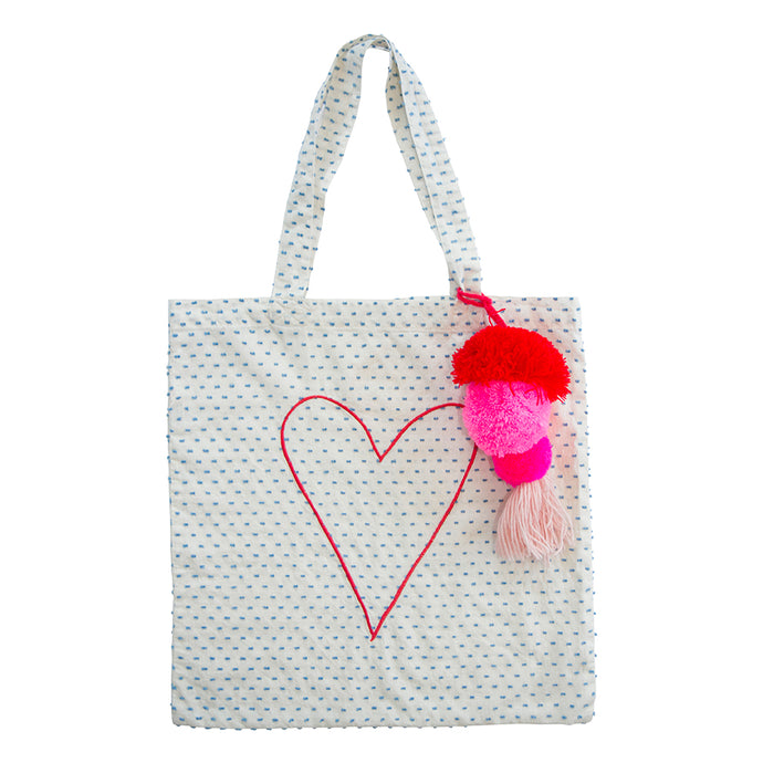 Heart Tote Bag w pompom
