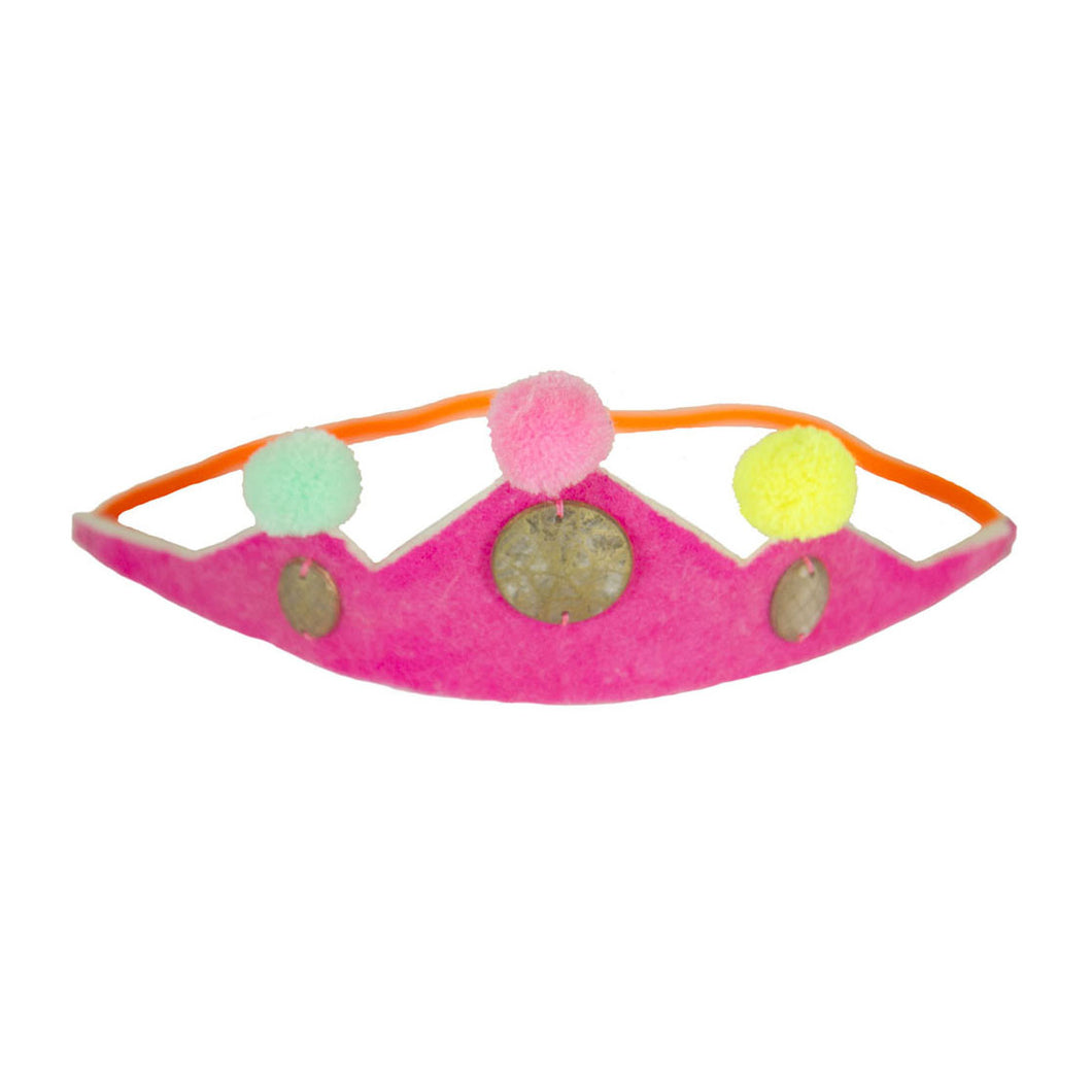 Neon pink pompom crown