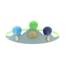 Blue Pompom Crown