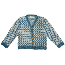 Hand Knit Blue Cardigan