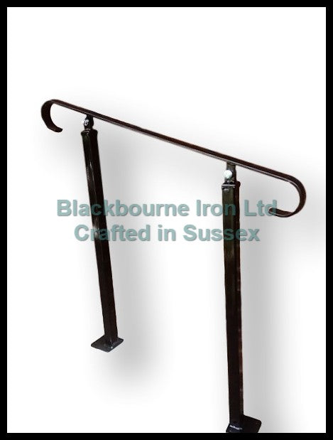 Wrought Iron Plain Handrail on Two Bolt Down Posts - Adjustable