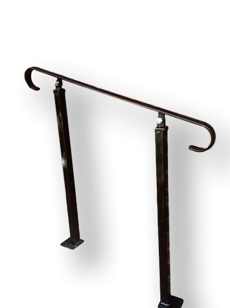 Wrought Iron Plain Handrail on Two Posts (one bolt down, one concrete in)- Adjustable