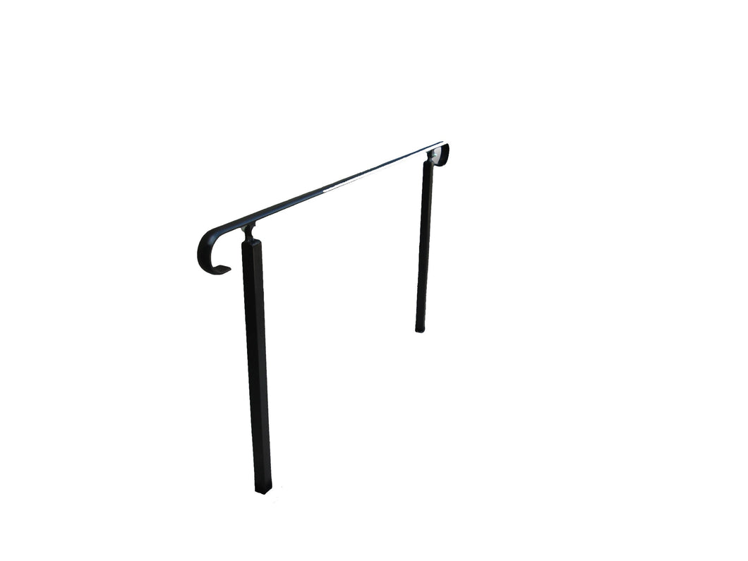 DISCONTINUED Wrought Iron Style Plain Handrail on Two Concrete in Posts - POWDER COATED