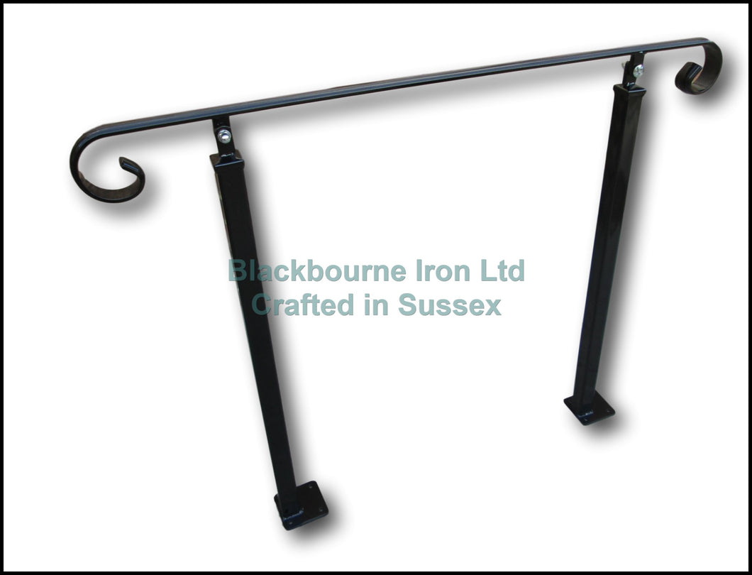 Wrought Iron Style Decorative Handrail on Two Pivoting Bolt Down Posts