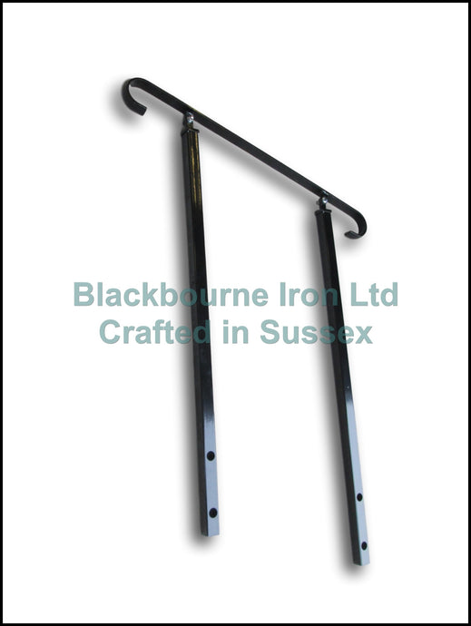 Wrought Iron Style Exterior Handrail on Two Pivoting Side Bolt Posts - Adjustable