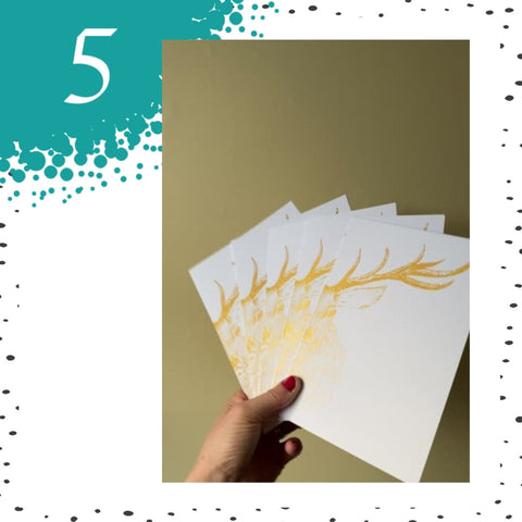 Handprinted Gold Stag Christmas Card