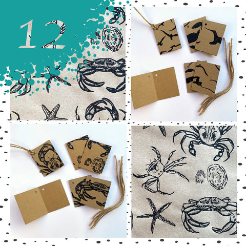 Handprinted Eco Gift Tags & Labels, including Gift Wrap.