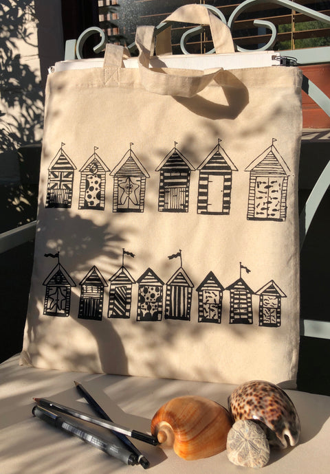 Handprinted Beach Hut Tote Bag