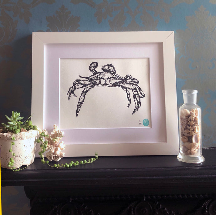 Mounted Happy Crab Print - A4