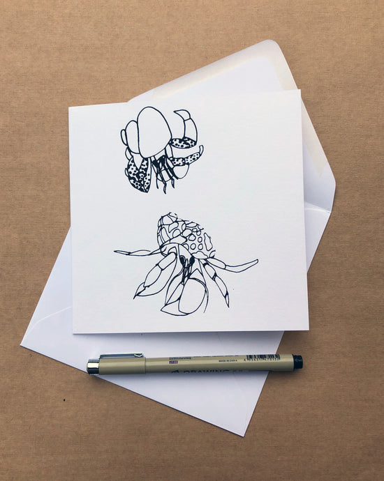 Handprinted Hermit Crab Card