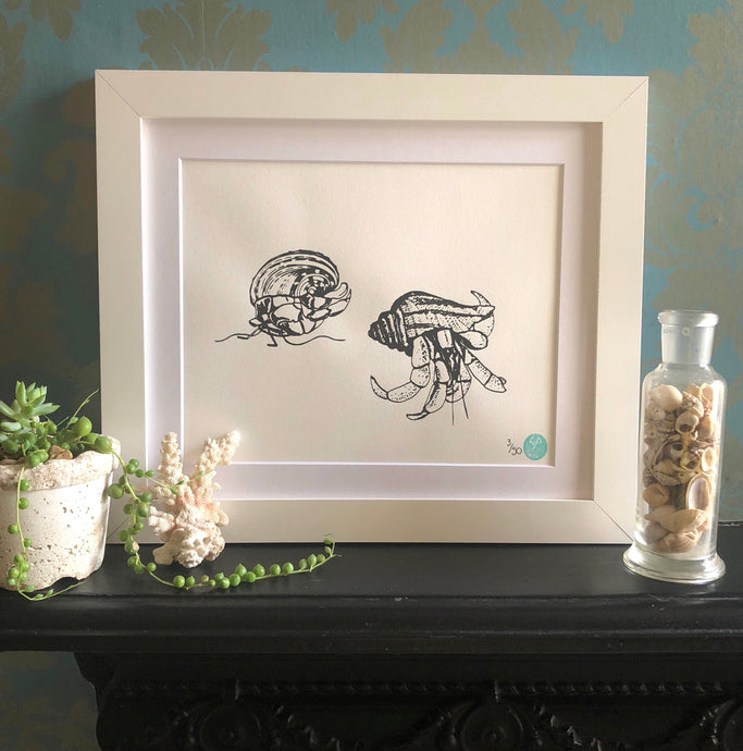 Mounted Hermit Crab Pair Print