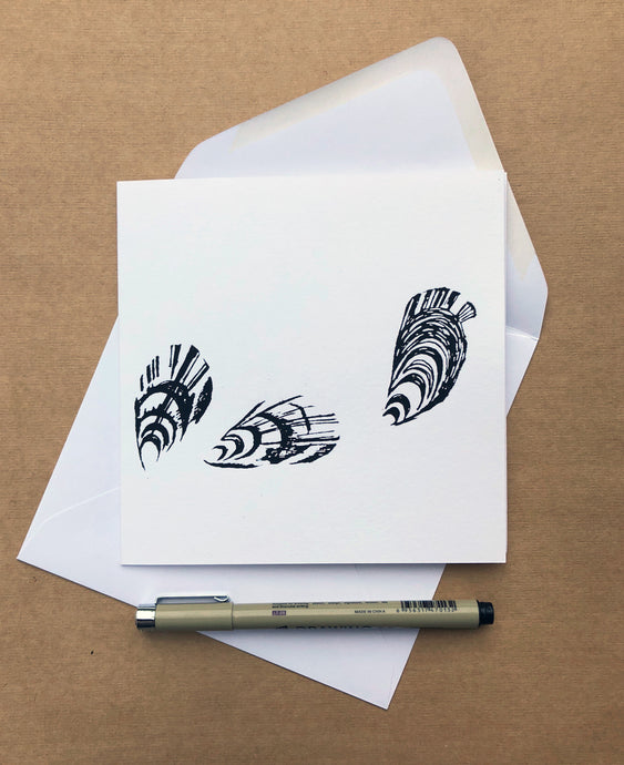 Handprinted Mussel Card