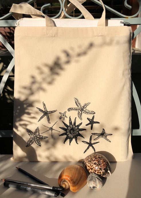 Handprinted Starfish Tote Bag