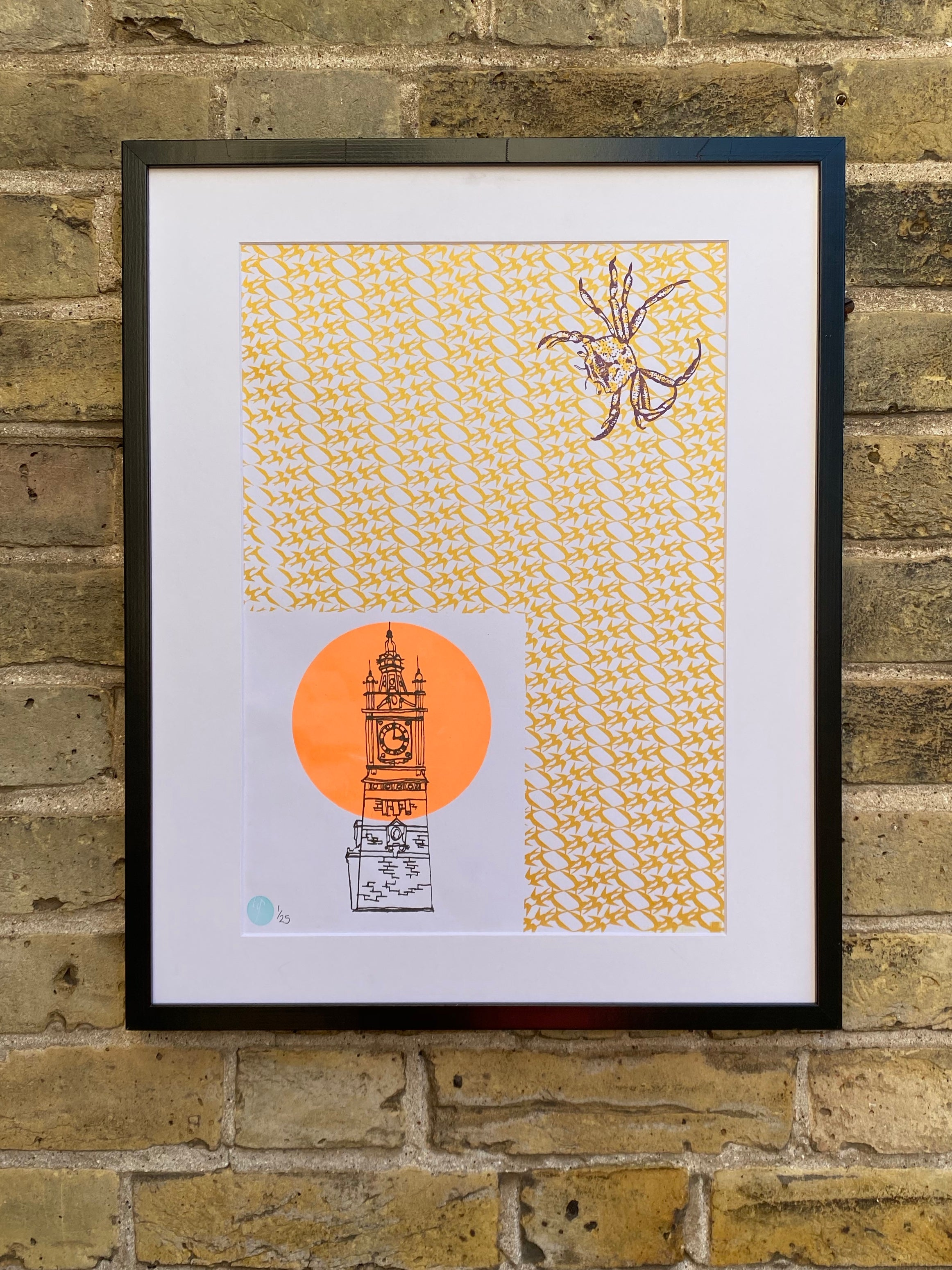 Neon and Metallic 4 colour Margate Print, handprinted on recycled paper