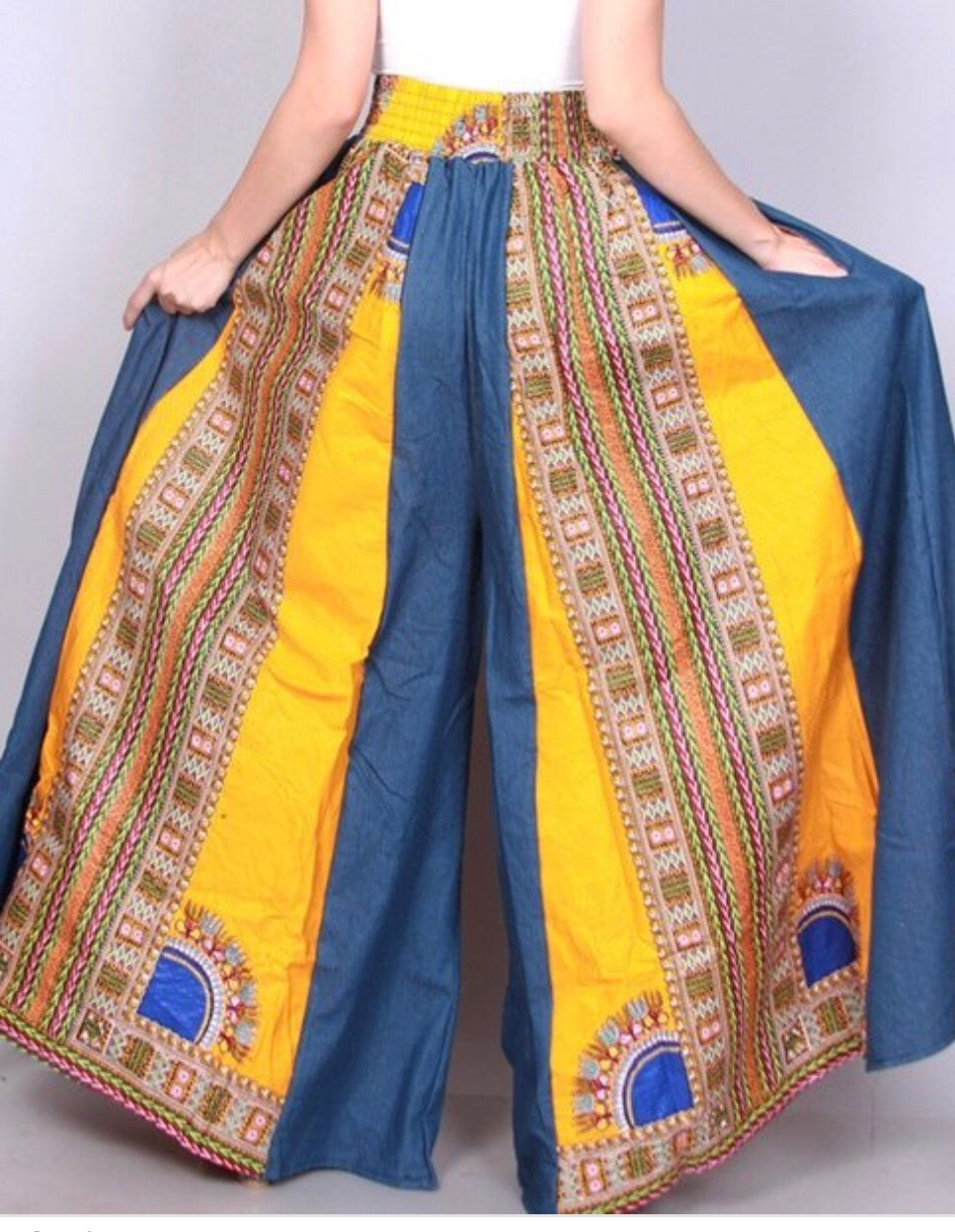 Denim/Dashiki Wide leg Pant - Bailey Sayge