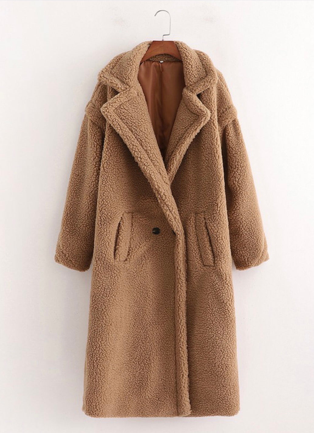 Long Flap Lapel Teddy Coat OUTERWEAR