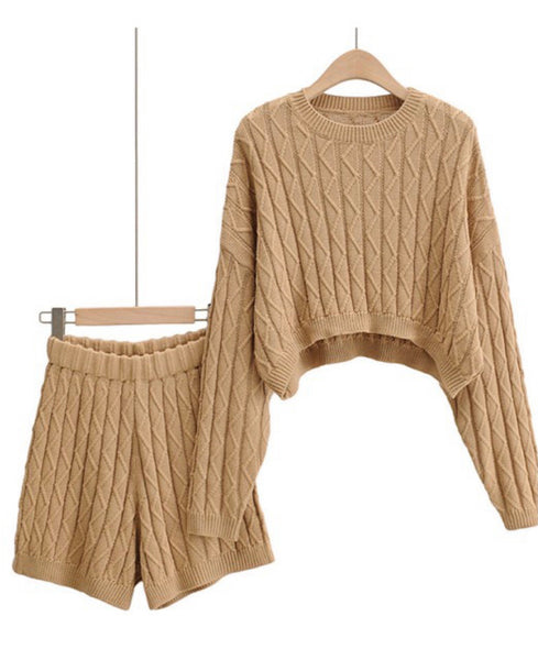 Cable Knit Short Set