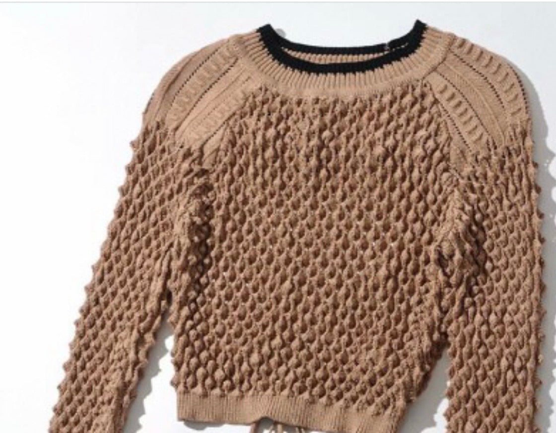 Long Sleeve Mesh Knit Sweater Top