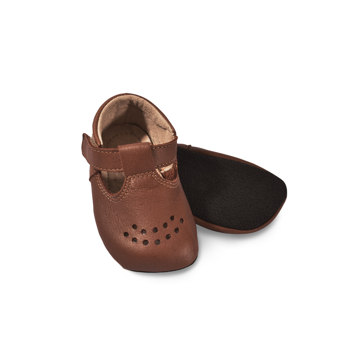 LUSTI. Children slippers made of soft reindeer leather. Color Brown