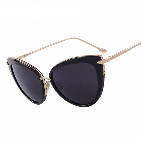 Retro Fashion Women Cat Eye Sun glasses Oval Alloy Frame