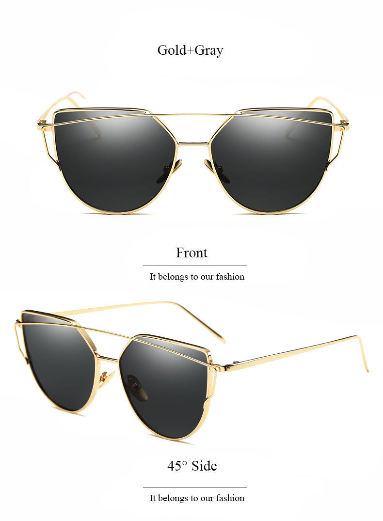 2017 New Cat-Eye Women Designer Gold Mirror Sunglasses