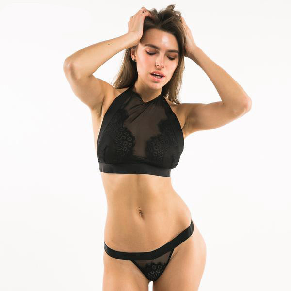 Black Lace + Mesh Soft  Bralette Halter Top / Thongs Set