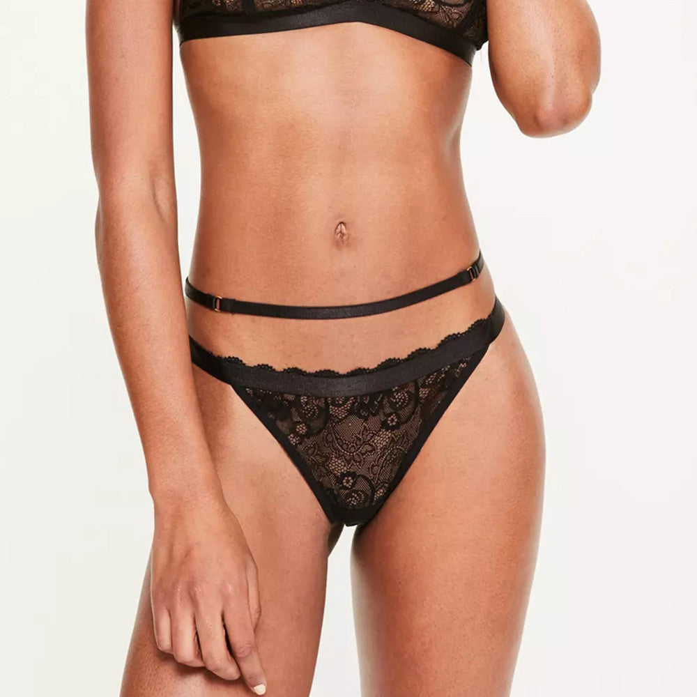 Black Lace Chocker Bralette + Strappy Panties Set