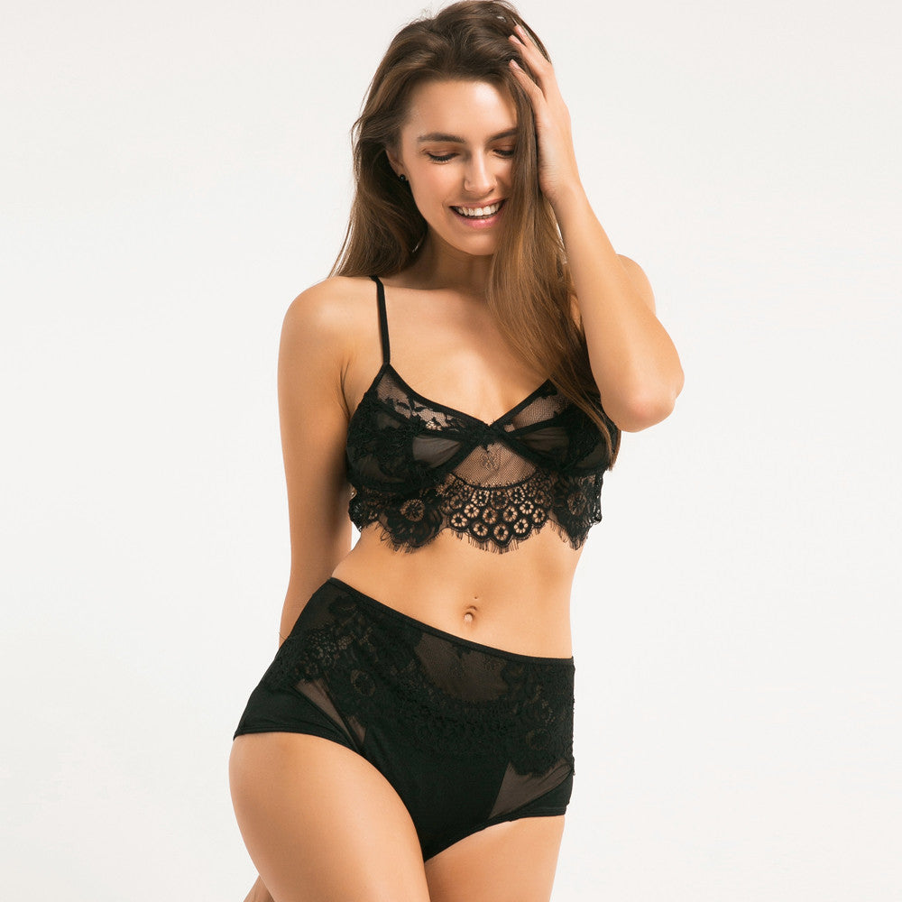 Lace Hight Waist Mesh Panties + Adjustable Straps Bralette Set