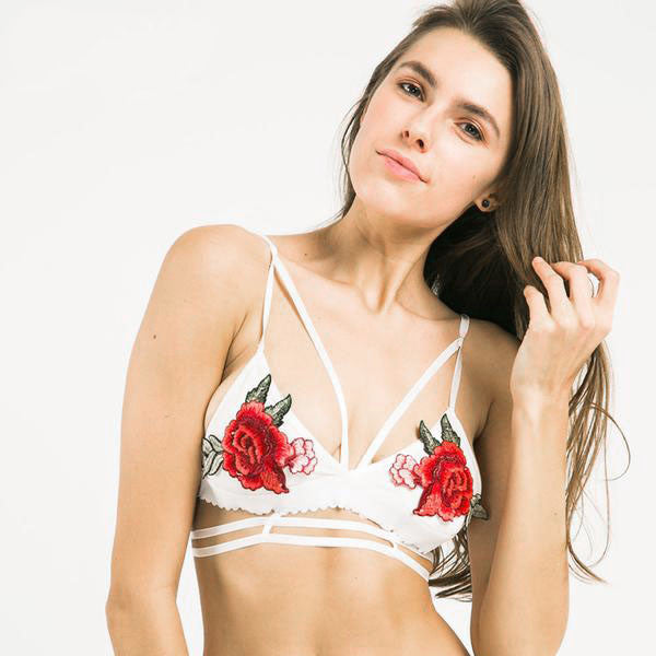 2017 New Collection Floral Embroidery White Bralette