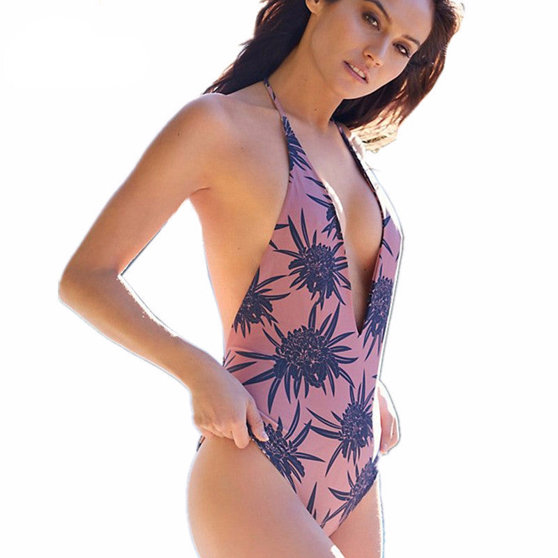 2017 Floral Swimsuit Halter One Piece Swimsuit