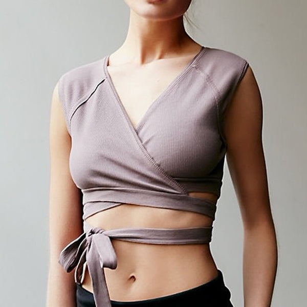 Women Yoga Wrap Top Shirts in Pink & Grey