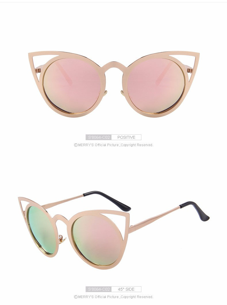 Women Cat Eye Designer Sunglasses Classic Shades Round Frame S'8064