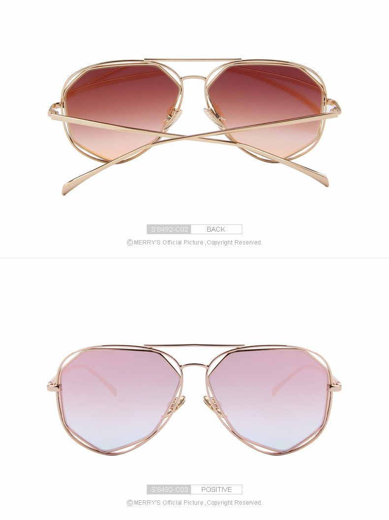 Women Sunglasses Retro Style Twin-Beams Coating Mirror Lens Summer Shades S'8492
