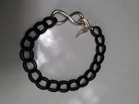 Double black chain infinity bracelet