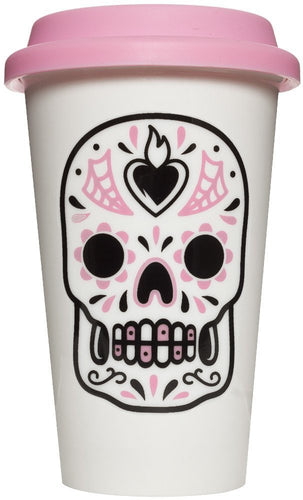 Travel mug Sugar skull rose