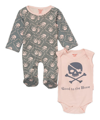 Set Pyjama+ Body skull & Crossbones pink