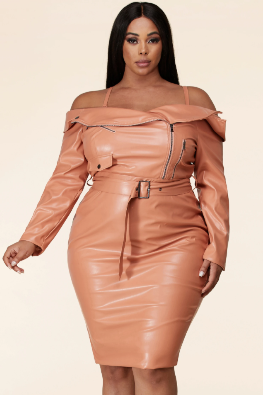 Salmon Faux Leather Dress