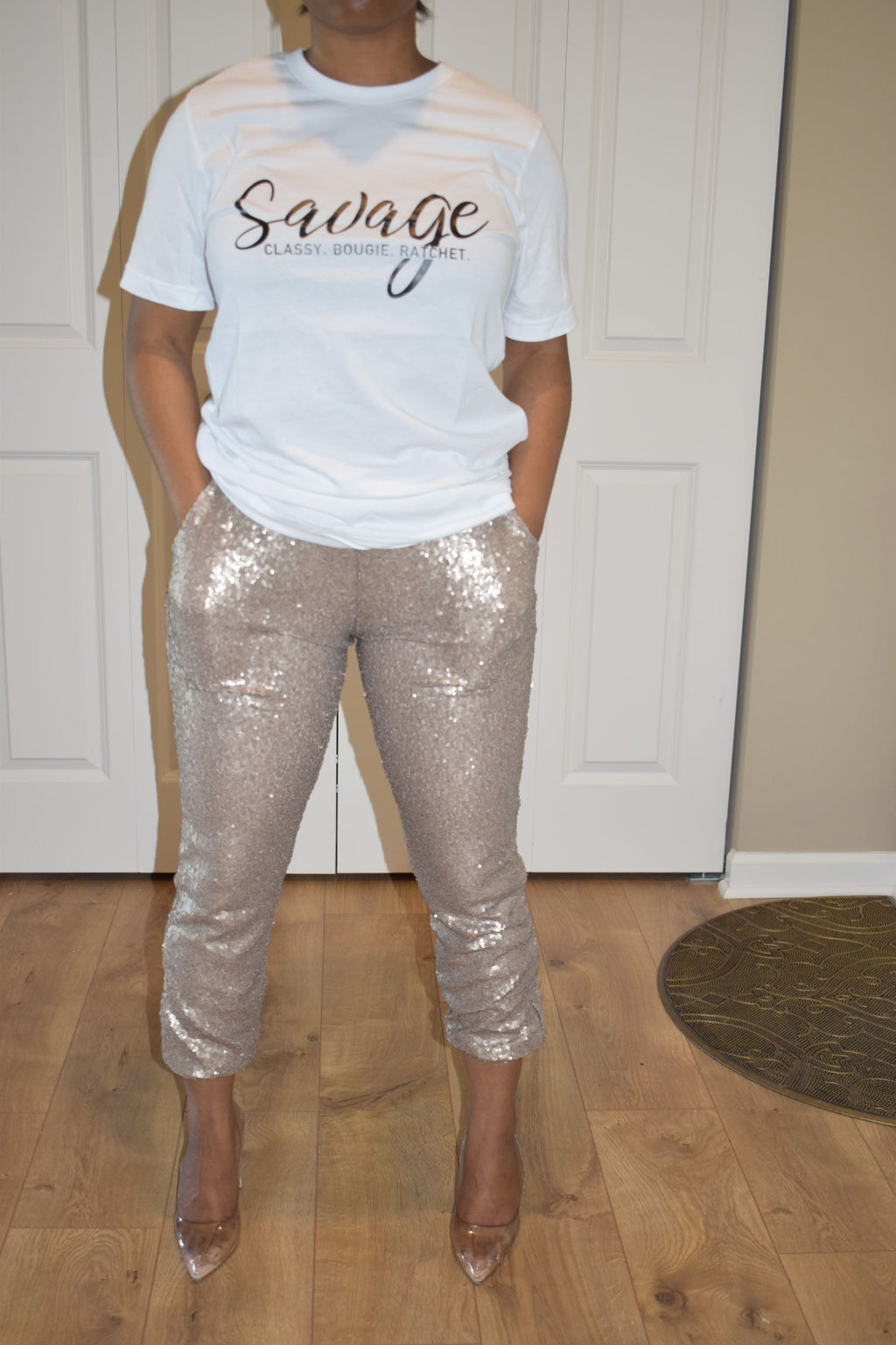 Flesh Sequin Jogger