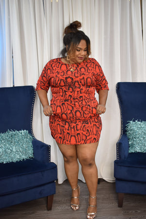 Red Curvy Snake Print Dress