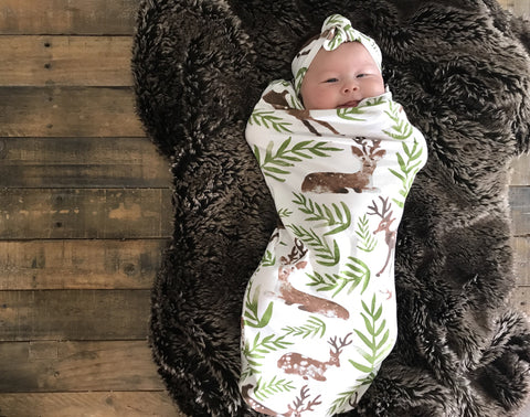 Newborn Cotton Swaddle with matching headband