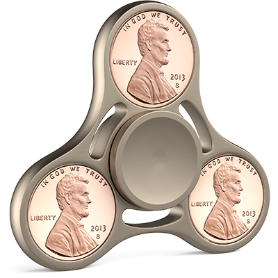 3 PACK - Abraham Lincoln Liberty Coin Fidget Spinner - Penny Hand Spinner