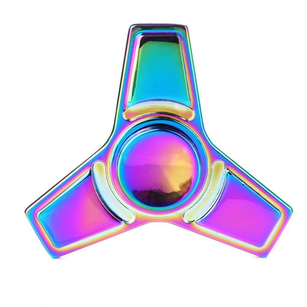The Anti-Anxiety 360 Tri Spinner Helps Focusing Fidget Toy for Kids & Adults ( #18 Rainbow )