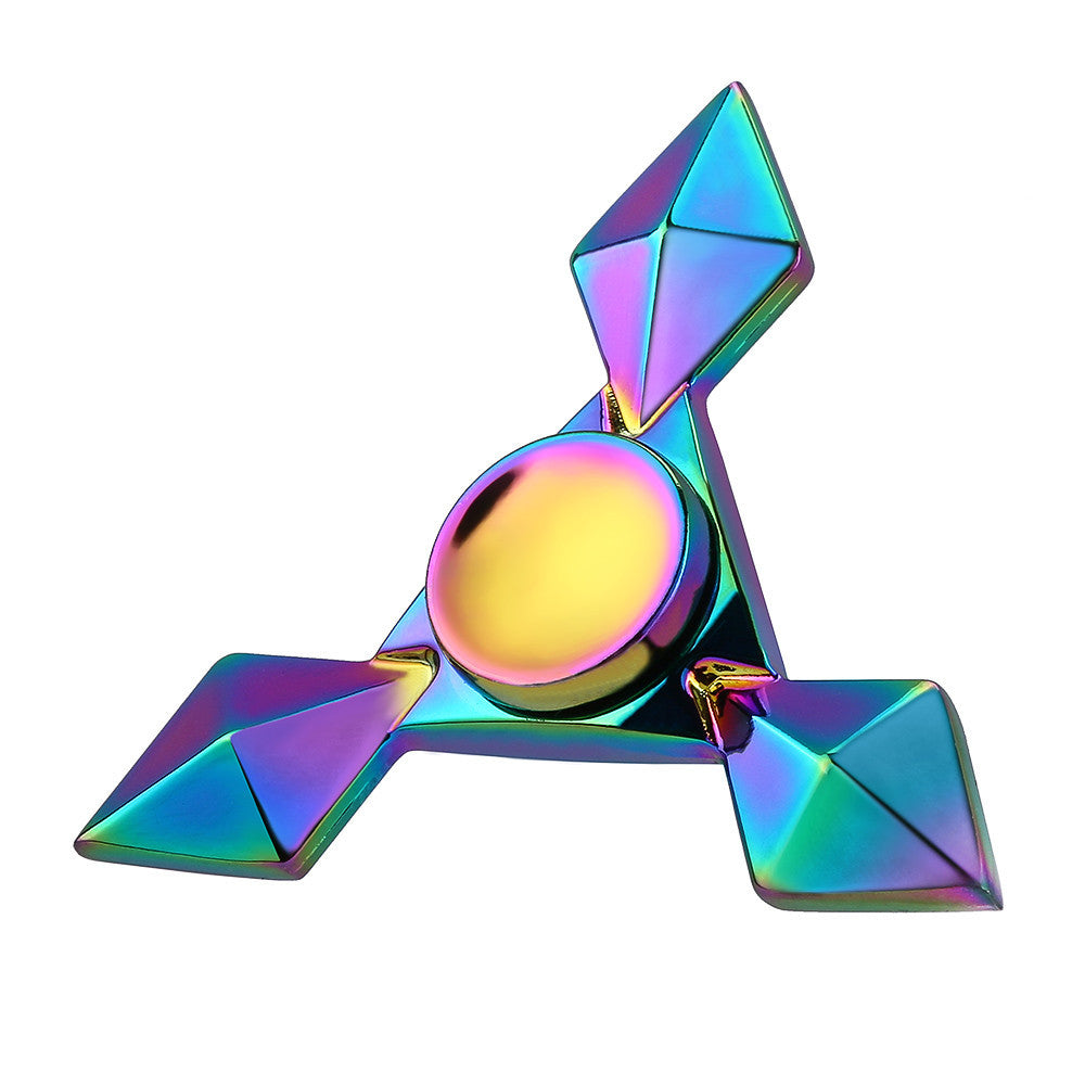 Triangular Colorful Pattern Metal Fidget Spinner for Autism ADHD Sensory Fidget Spinner