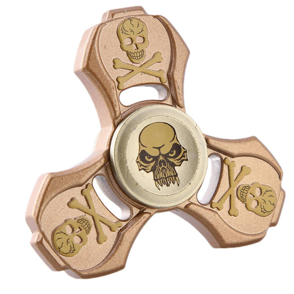 Fidget Toy Skull Hand Spinner Metal Finger Stress Spinners For ADHD Adults Kids Toy