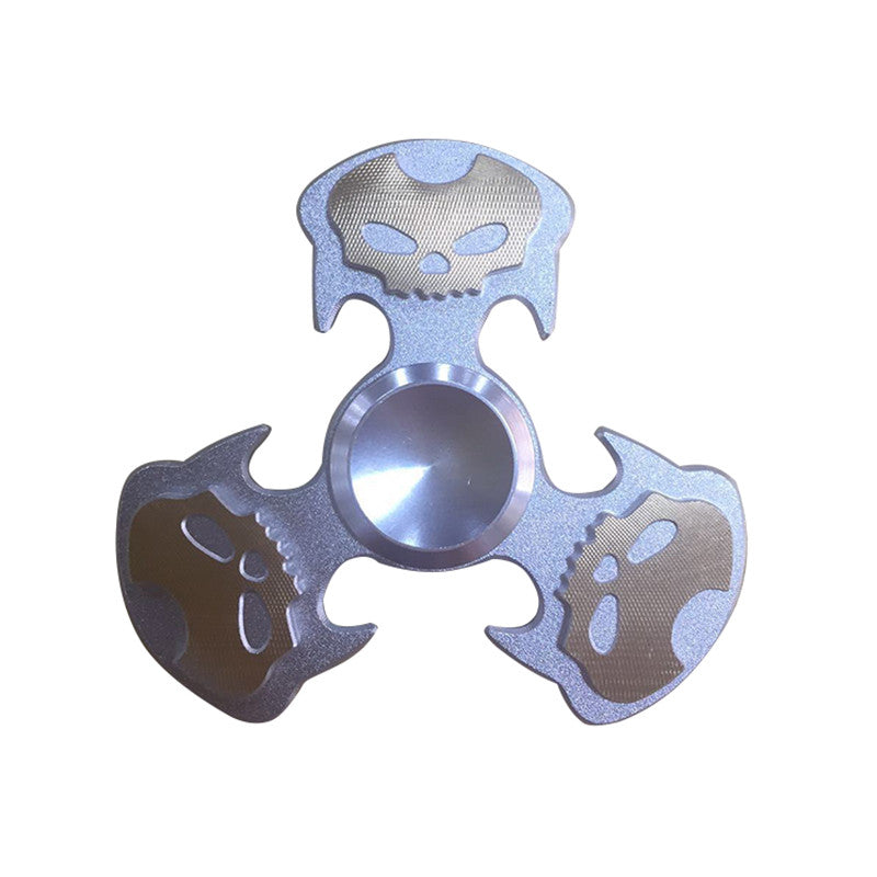 Zinc Skull Finger Tri Spinners Cool Fidget Metal Toy Hand Spinners for Autism ADHD