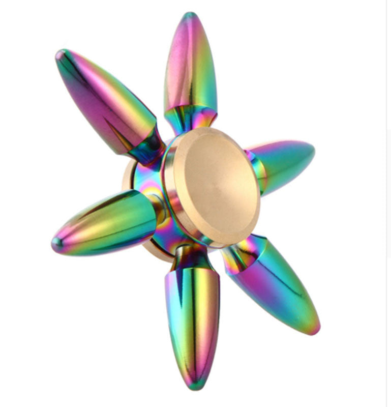 Rainbow Bullet Finger Brass Spinner For Autism And ADHD Anxiety Stress Relief Focus Toy