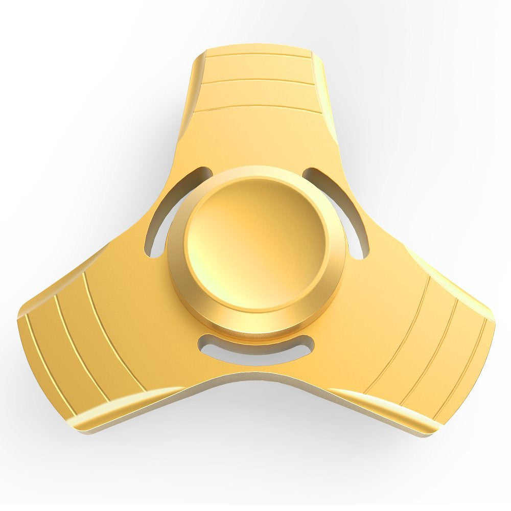 Fidget Spinner, Metal Hand Finger Tri Spinner Fidget Toy For Kids and Adults ( Gold )