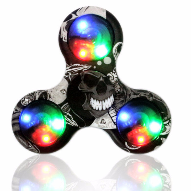 Multi Color LED Light Hand Fidget Plastic Spinners For Autism and ADHD Relief Focus Toys