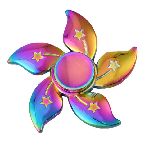 Rainbow Flower Star Metal Fidget Spinners Tri-spinner For ADHD Stress Relief